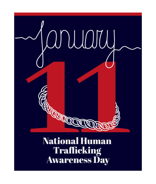 Calendar sheet, vector illustration on the theme of National Human Trafficking Awareness Day on January 11. Decorated with a handwritten inscription JANUARY and chain. human trafficking stock illustrations