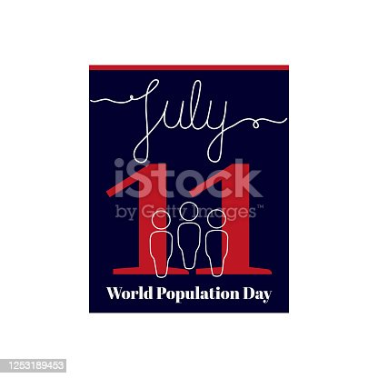 istock Calendar sheet, vector illustration on the theme of World Population Day on July 11. 1253189453
