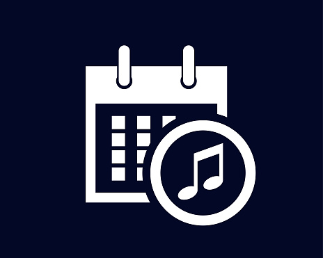 Calendar showing days of the month with a musical note icon in a circle