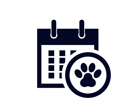 Calendar showing days of the month with a pet paw print in a circle