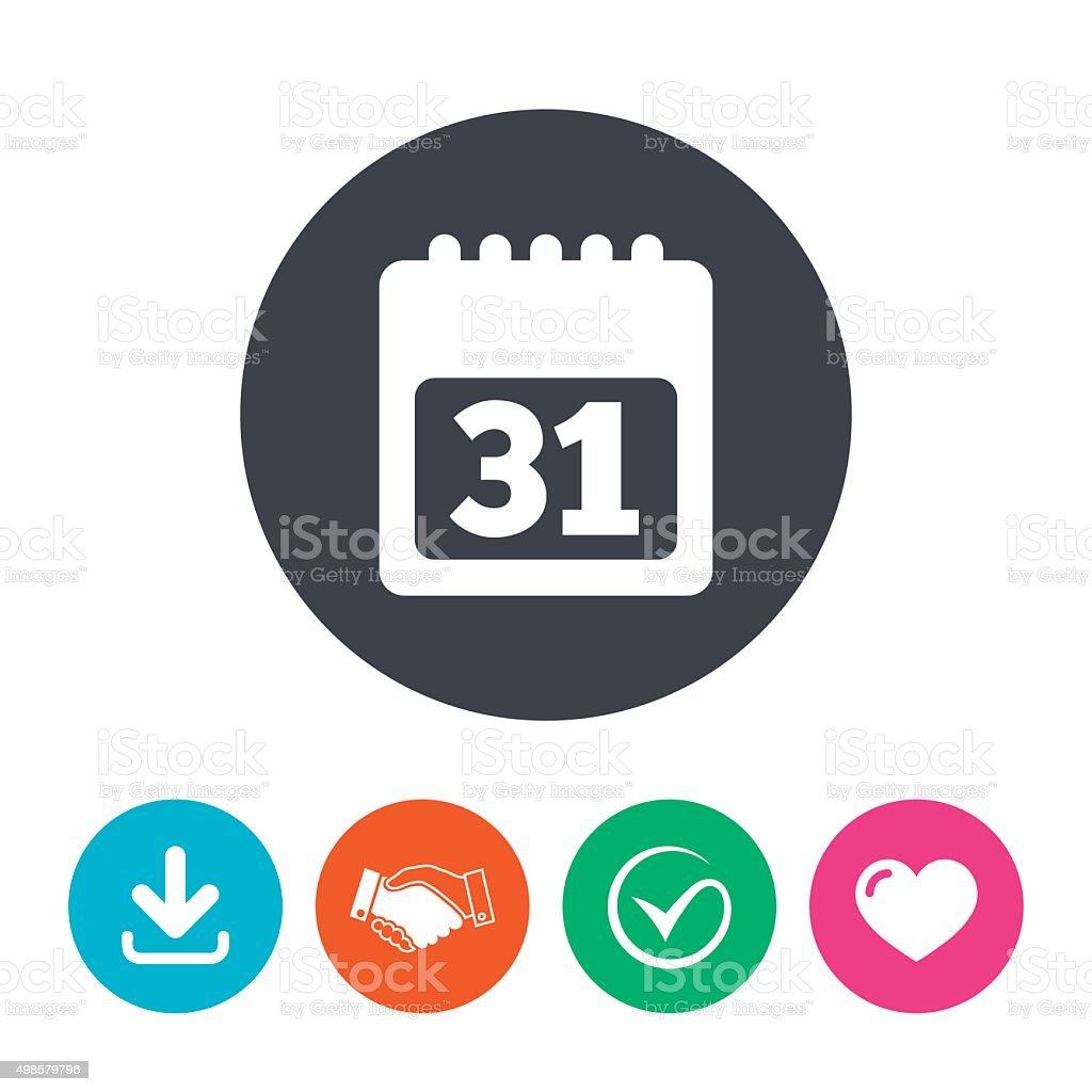 Simbolo De Calendario.Calendario Di Icona Simbolo Di 31 Giorni Mese Immagini
