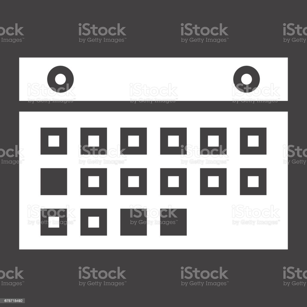 Calendar solid icon, mobile and website button, vector graphics, a filled pattern on a black background, eps 10. royalty-free calendar solid icon mobile and website button vector graphics a filled pattern on a black background eps 10 stock vector art & more images of abstract
