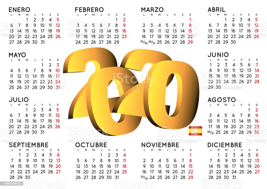 Calendario Agosto 2020 Espana.Ilustracion De Horizontal Espanola 2020 Calendario Y Mas