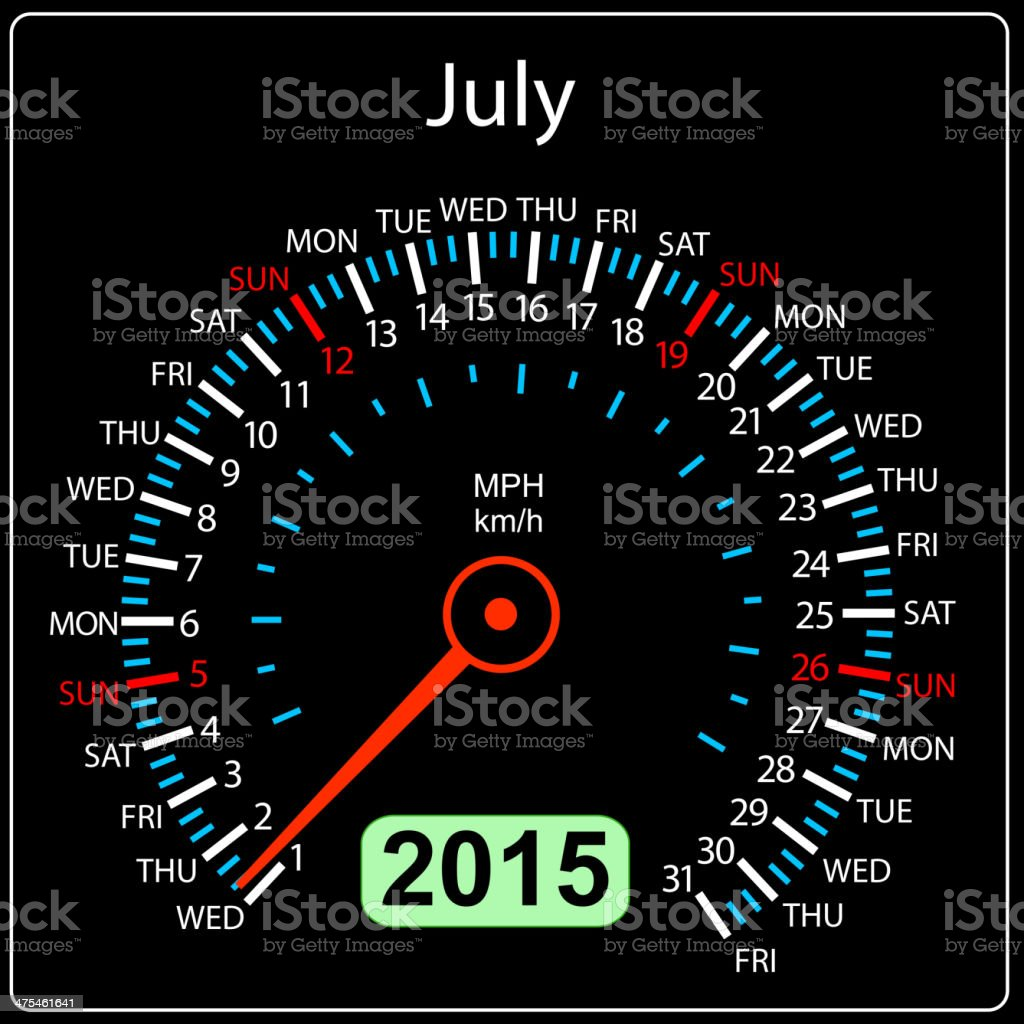 calendar speedometer car July. royalty-free calendar speedometer car july stock vector art & more images of 2015