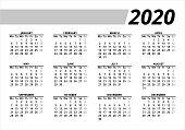 2020 Calendar Grid / starting Monday