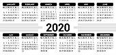 2020 Calendar - starting Monday - vector illustration