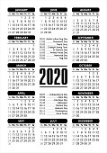 2020 Calendar Grid / starting Sunday