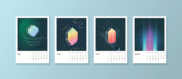 Calendar style with space 80 crystals.