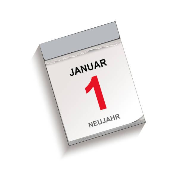 Kalender, Abreißkalender mit Datum 1. Januar, Abreißkalender, Vektor-Illustration isoliert auf weißem Hintergrund – Vektorgrafik