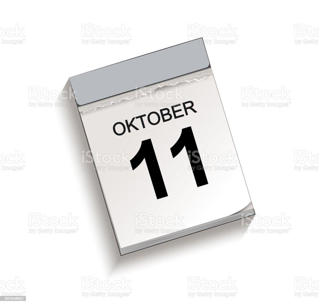 Kalender, Abreißkalender mit Datum 11 Oktober – Vektorgrafik