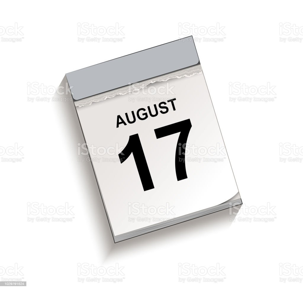 Calendar, tear-off calendar with date 17 August vector art illustration