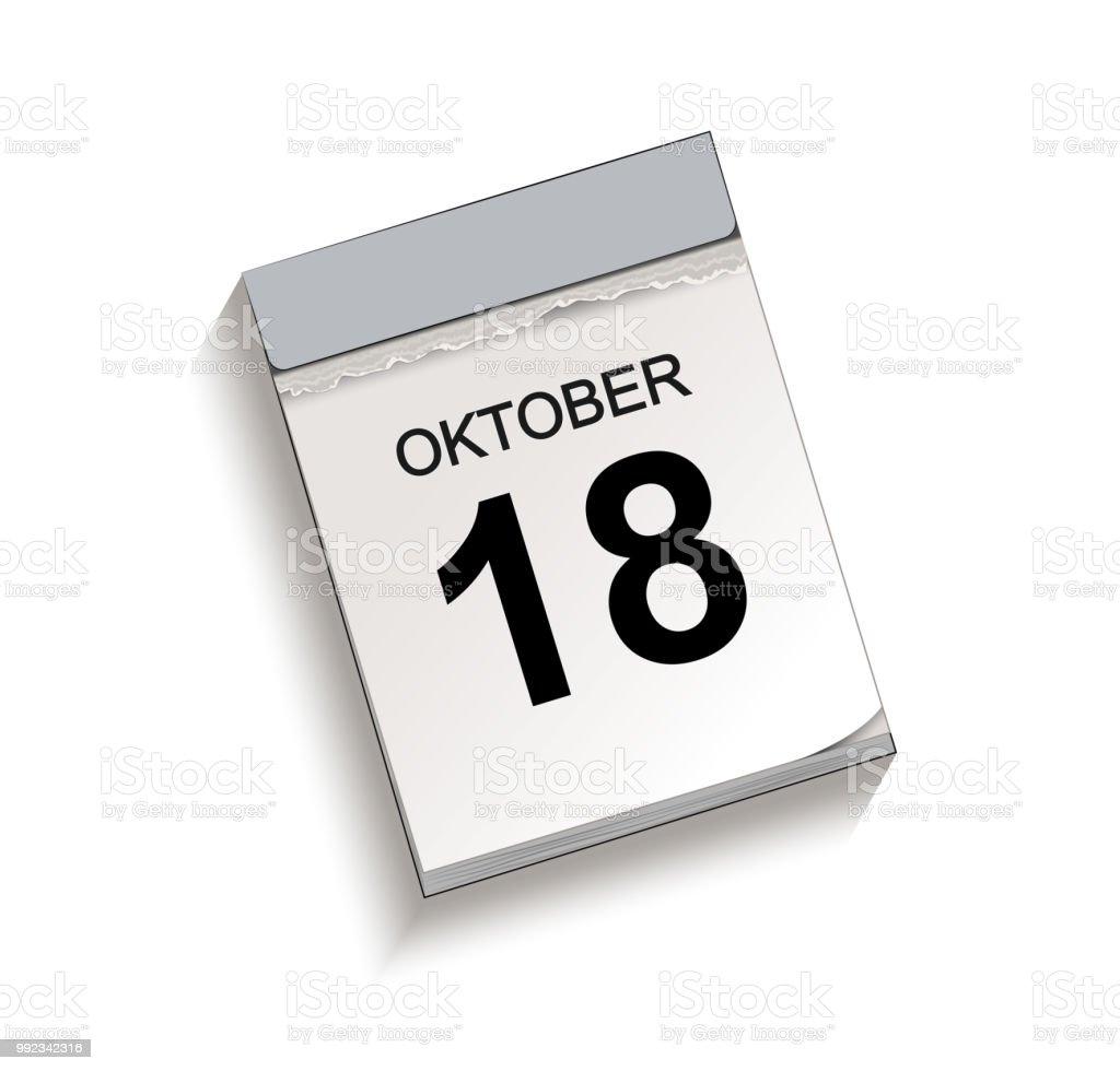 Kalender, Abreißkalender mit Datum 18 Oktober – Vektorgrafik
