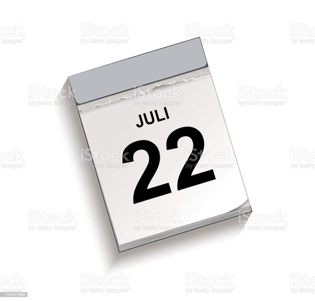 Vetores de Calendário Tearfora Do Calendário Com Data 22 Julho