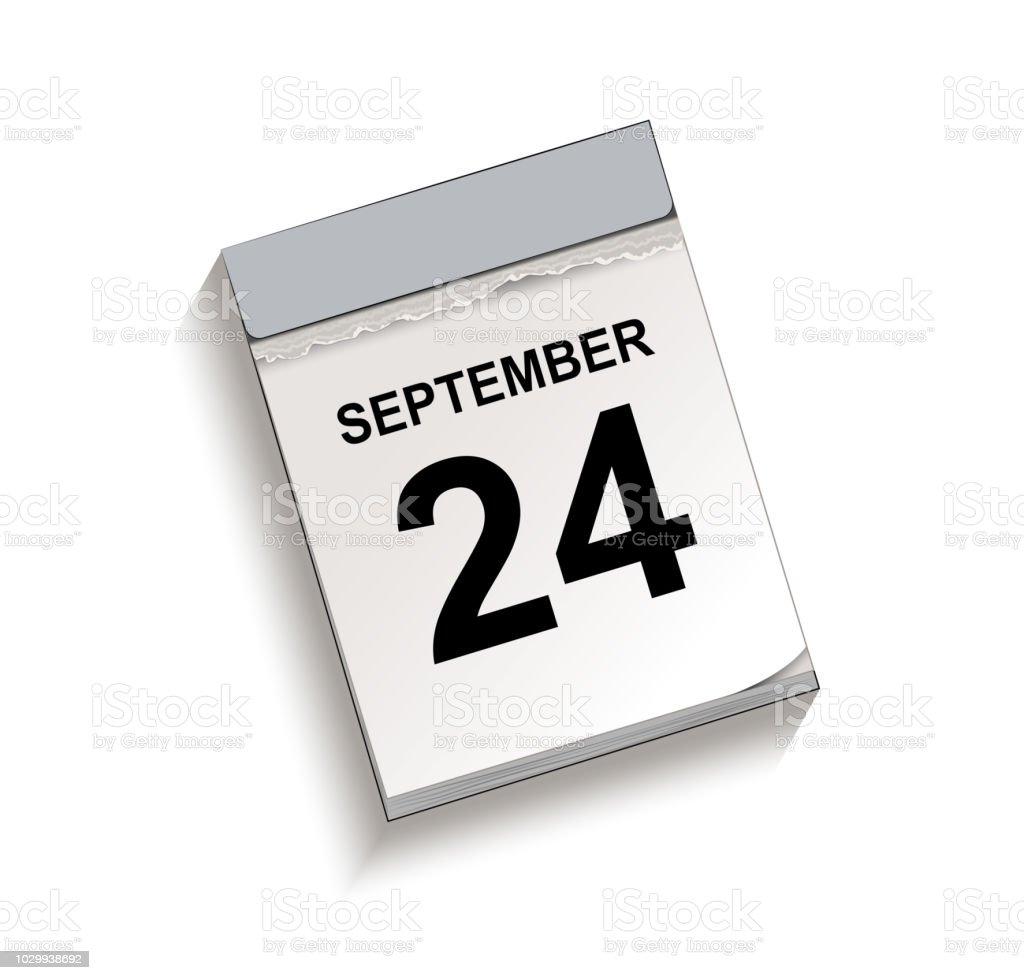 Kalender, Abreißkalender mit Datum 24 September, – Vektorgrafik