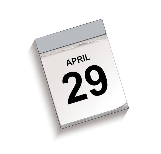 Kalender, Abreißkalender mit Datum 29. April, Abreißkalender, Vektorabbildung isoliert auf weißem Hintergrund – Vektorgrafik