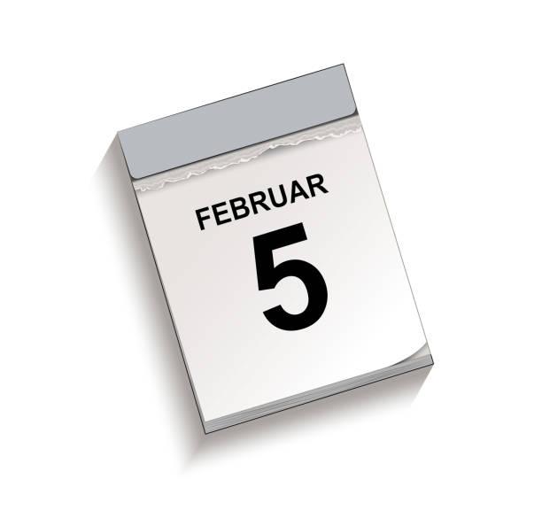 Kalender, Abreißkalender mit Datum 5. Februar, Abreißkalender, Vektor-Illustration isoliert auf weißem Hintergrund – Vektorgrafik
