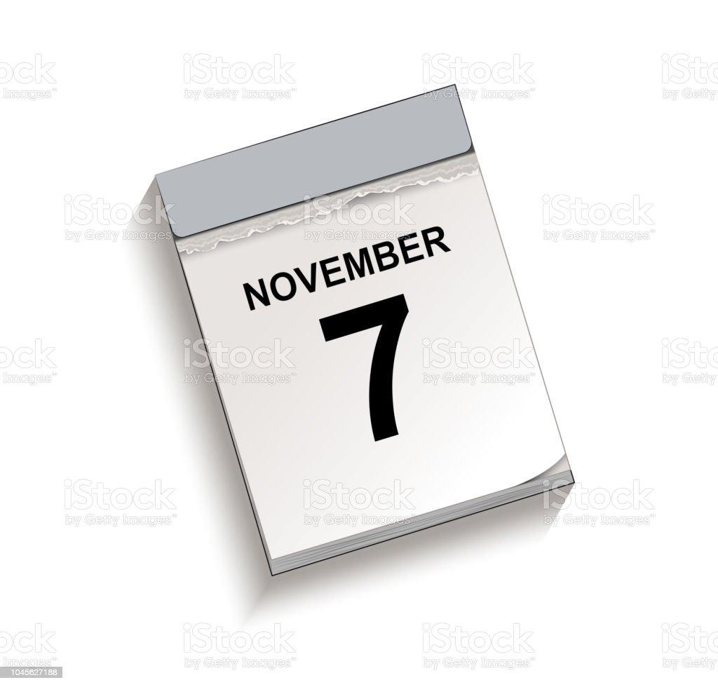 Kalender, Abreißkalender mit Datum 7. November, – Vektorgrafik