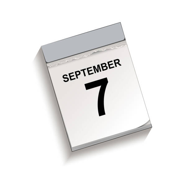 Kalender, Abreißkalender mit Datum 7 September, – Vektorgrafik