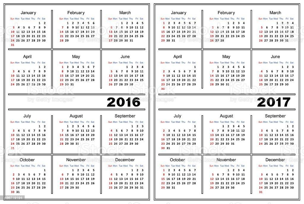 Calendar Template 2016 2017 Stock Vector Art More Images Of 2015