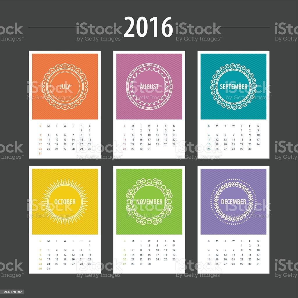 Calendario Plantilla De 2016 Julio Agosto Septiembre Octubre ...