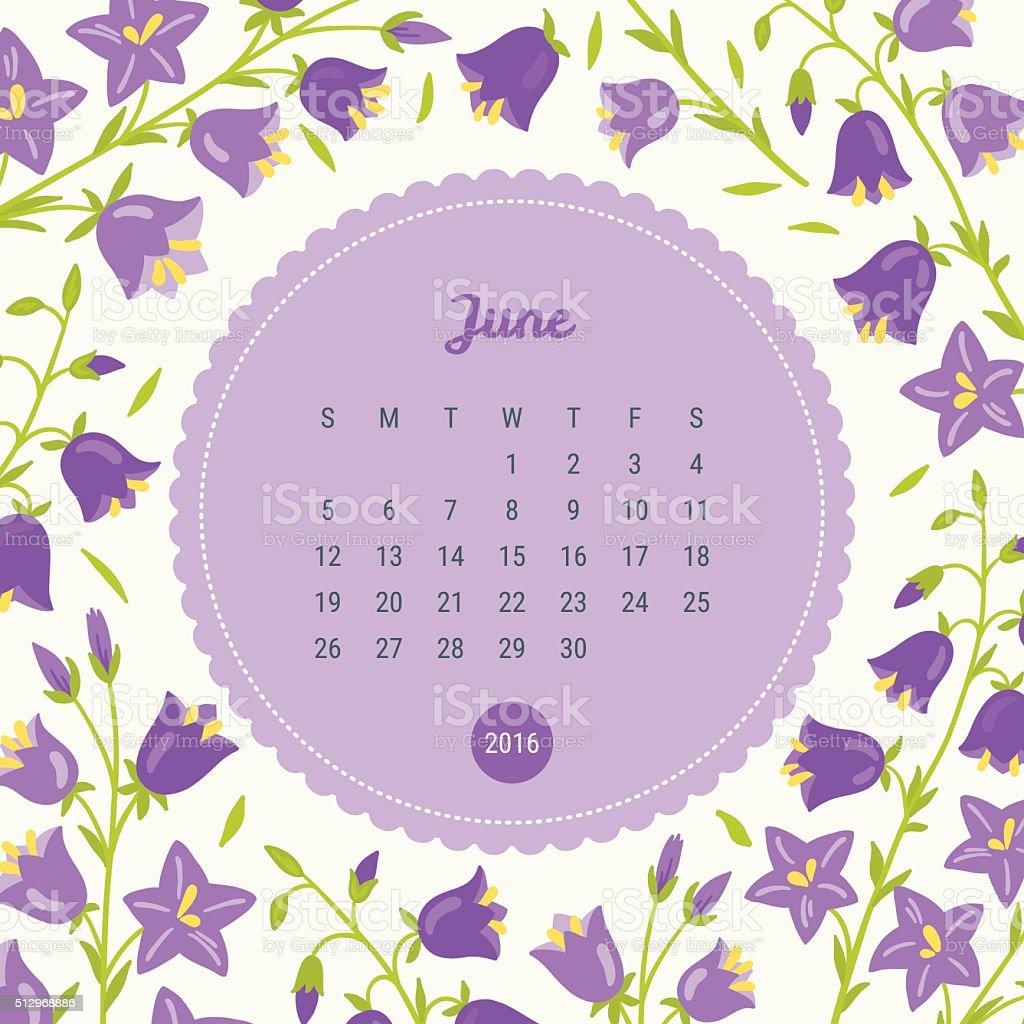 Calendario Plantilla De 2016 Con Fondo Flores Campana Flor Junio ...
