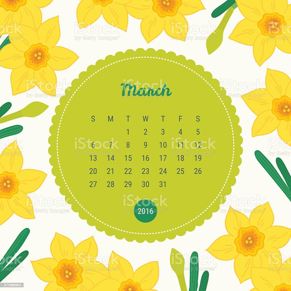 Calendar Template 2016 with floral background. Narcissus flowers. March vector art illustration