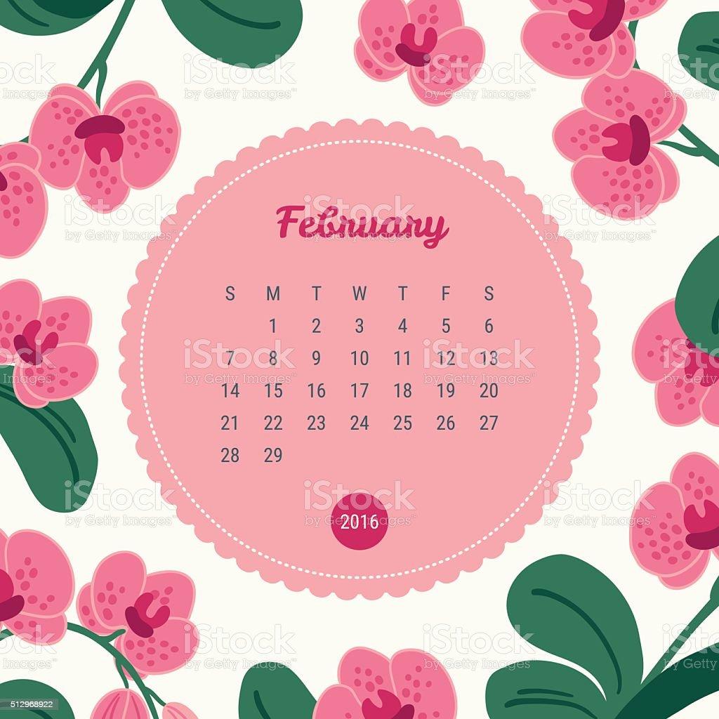 カレンダーテンプレート 2016 年に花の背景蘭の花2 月 2016年の