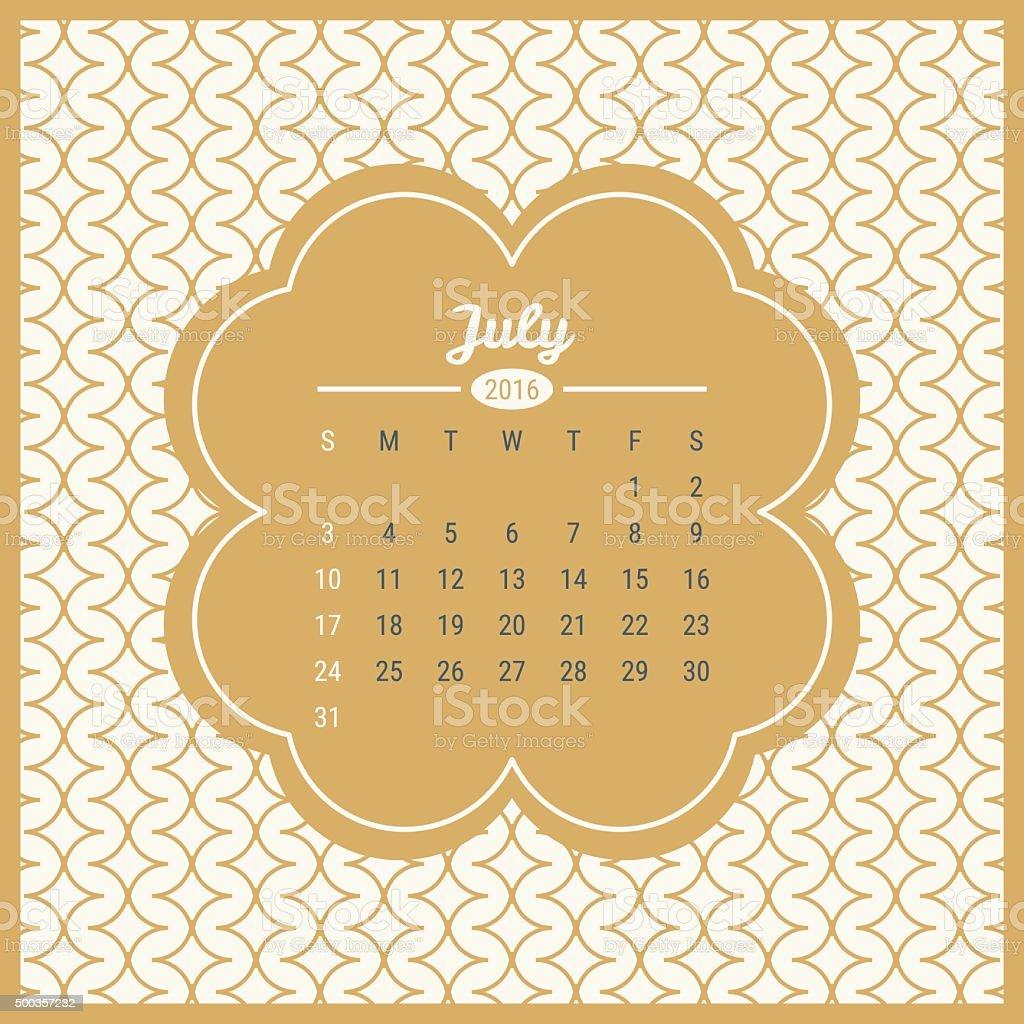 Calendario De 2016 Con Retro Plantilla De Etiqueta Tm - Arte ...