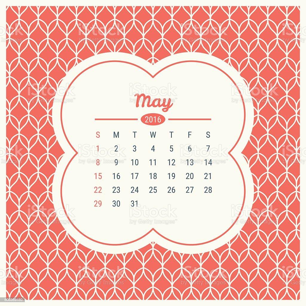 Calendario De 2016 Con Retro Plantilla De Etiqueta Tm Illustracion ...