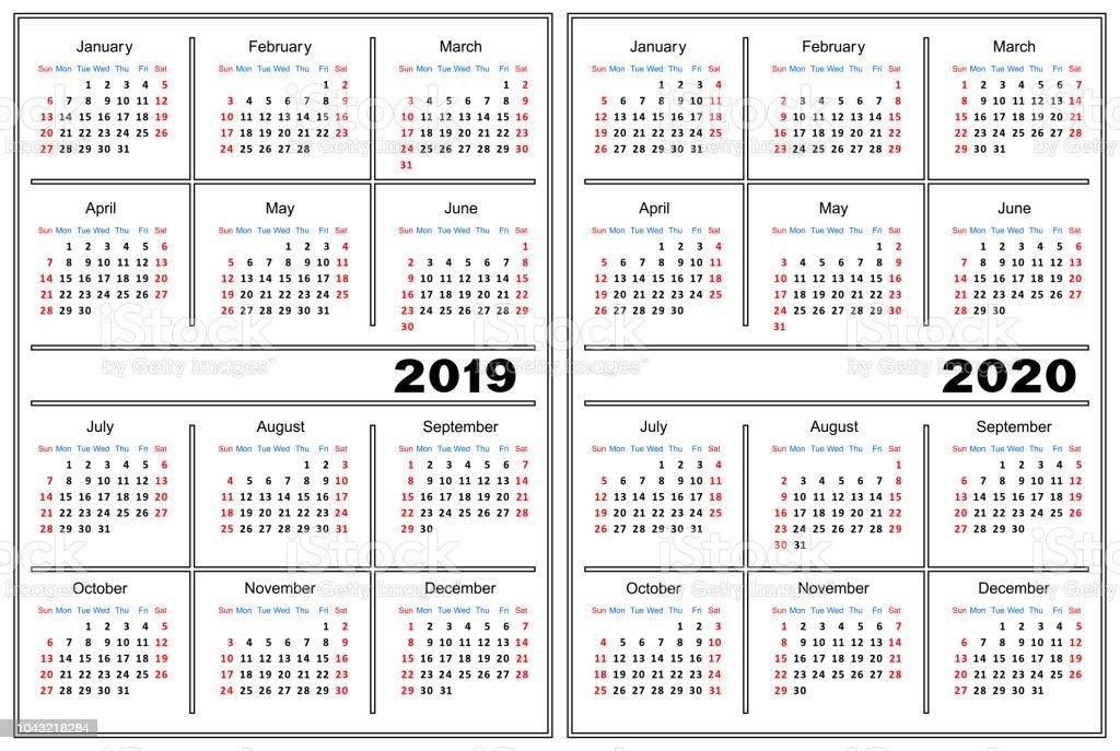 Calendario 2020 Vector Gratis En Espanol.Calendar Template 2019 2020 Stock Illustration Download