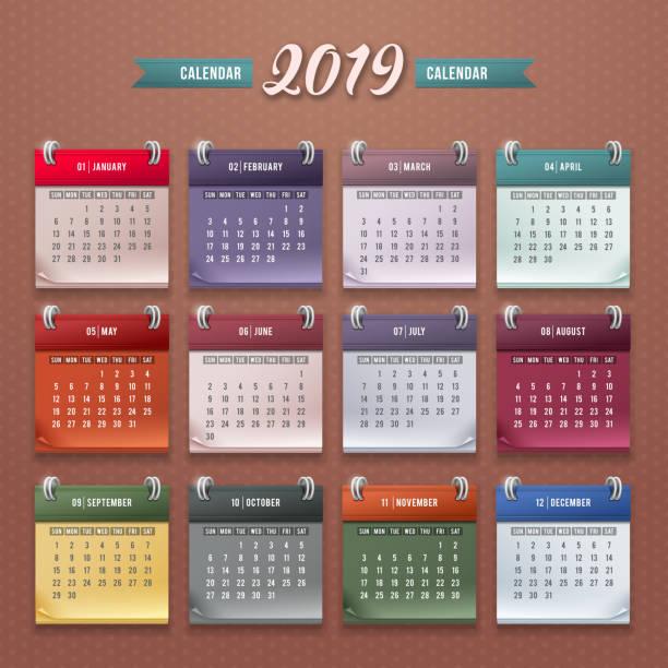 カレンダー テンプレート 2019 ベクターアートイラスト