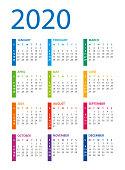 Calendar Template 2020. Days start from Sunday