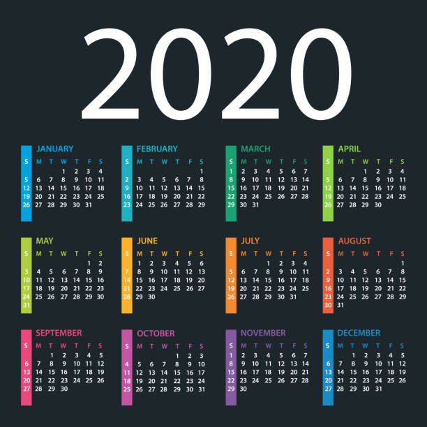 calendar template 2020 on dark background. days start from sunday - calendars templates stock illustrations