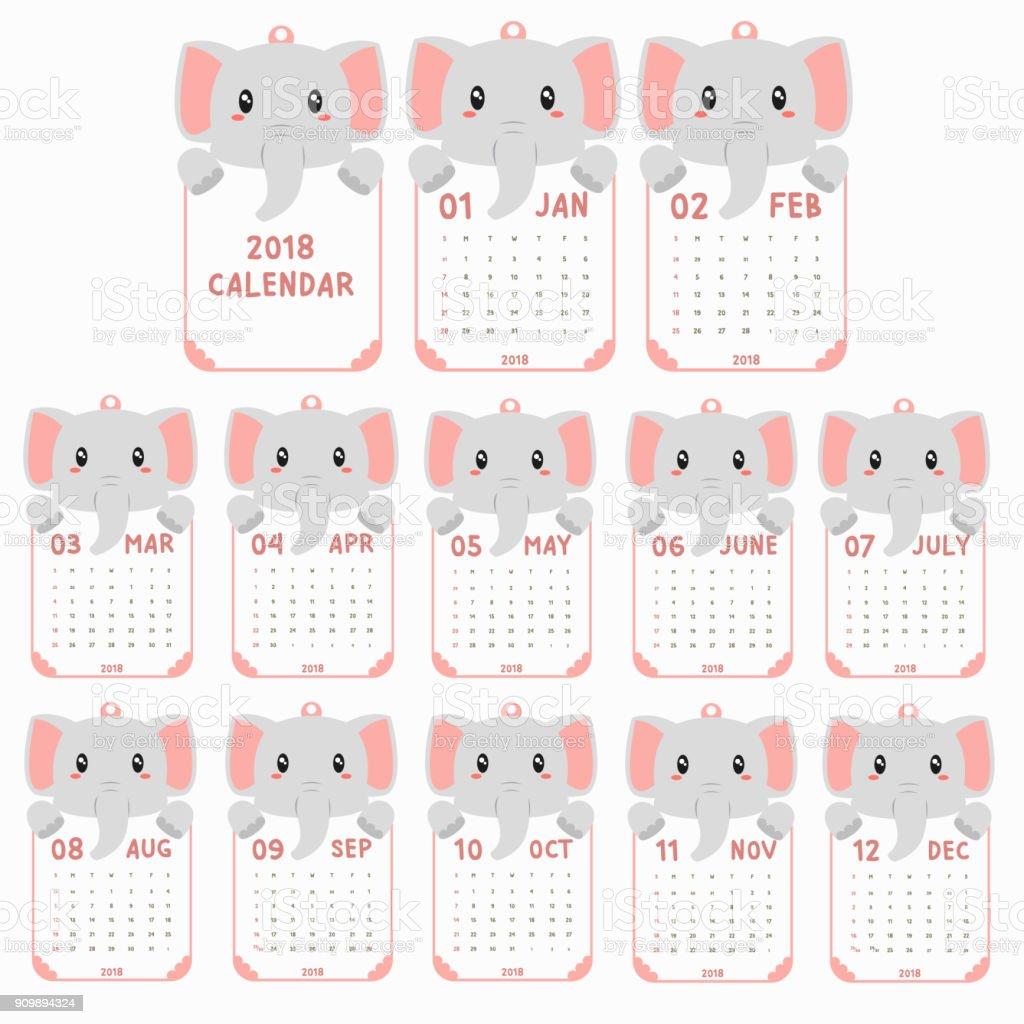 2018 Calendar Template Animal Shaped Baby Elephant Calendar Cartoon