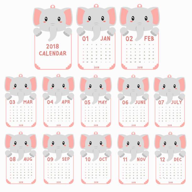 ilustrações, clipart, desenhos animados e ícones de modelo de calendário de 2018. em forma de animal, bebê elefante calendário cartoon vetor - calendário de vida selvagem