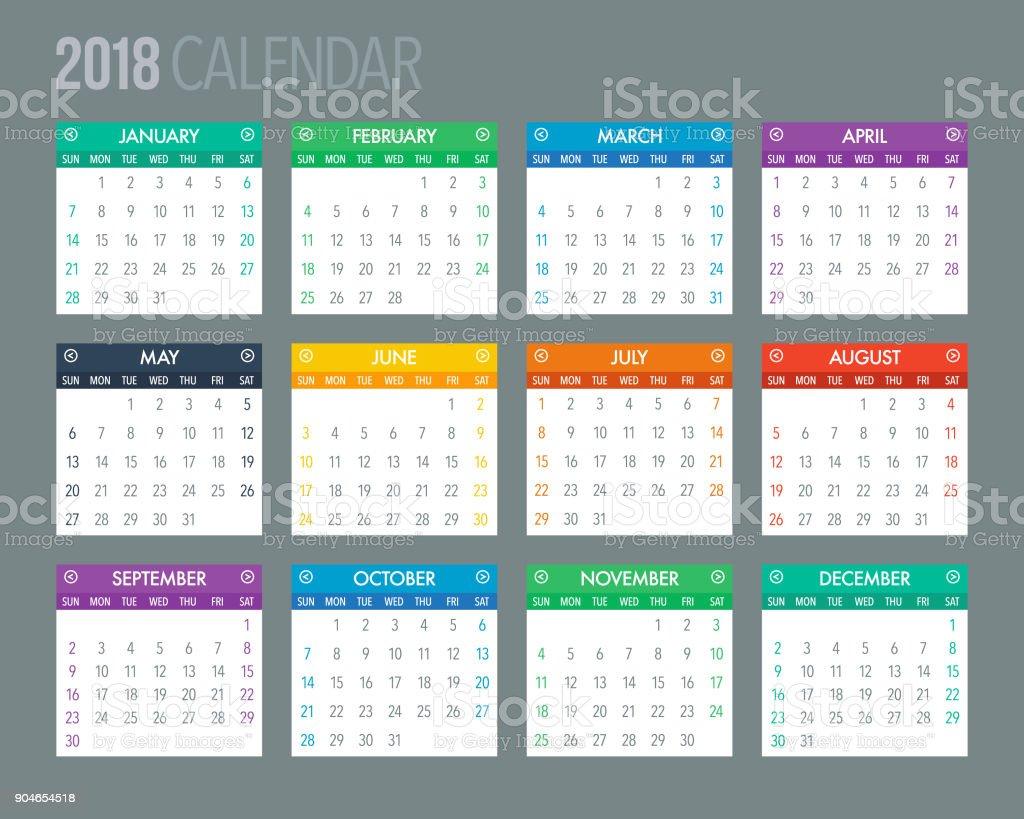 2018 kalender vorlagendesign stock vektor art und mehr. Black Bedroom Furniture Sets. Home Design Ideas