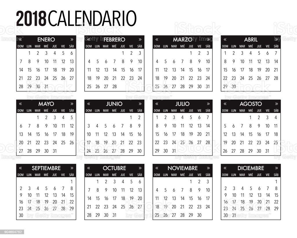 Ilustración de Diseño De Plantilla De Calendario 2018 y más banco de ...