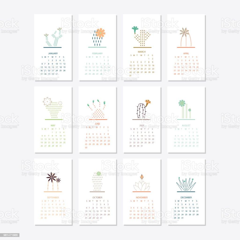 Diseño de plantilla de calendario 2019 - ilustración de arte vectorial