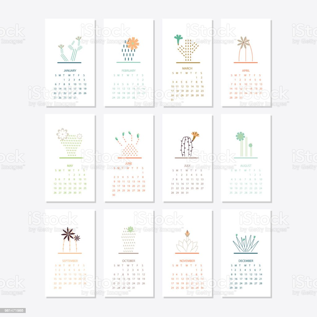 2019-Kalender-Template-design – Vektorgrafik