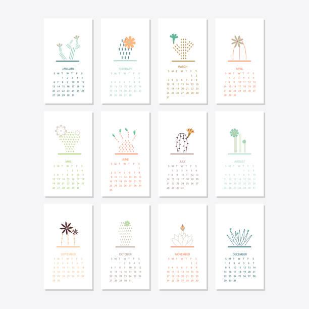 ilustraciones, imágenes clip art, dibujos animados e iconos de stock de diseño de plantilla de calendario 2019 - calendario de flores