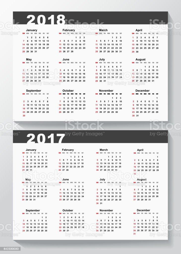 Plantilla De Calendario Para Los Años 2017 Y 2018 - Arte vectorial ...