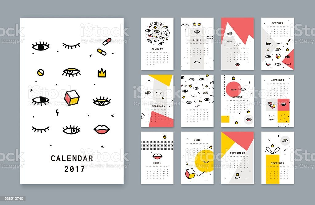 Calendar template for 2017 there with open eyes and Lips
