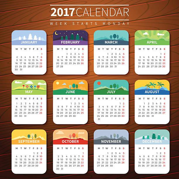 illustrazioni stock, clip art, cartoni animati e icone di tendenza di calendar template for 2017 - sfondo vacanze e stagionali