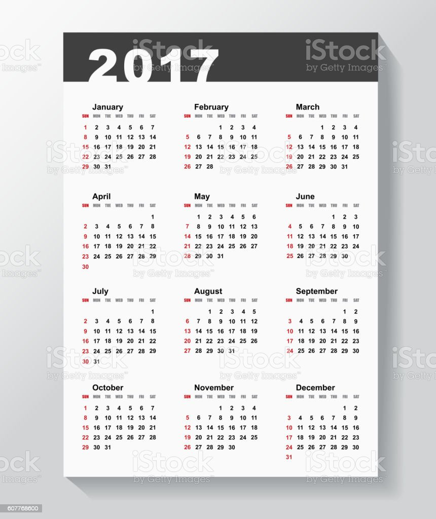 Calendar Template for 2017 year. vector art illustration