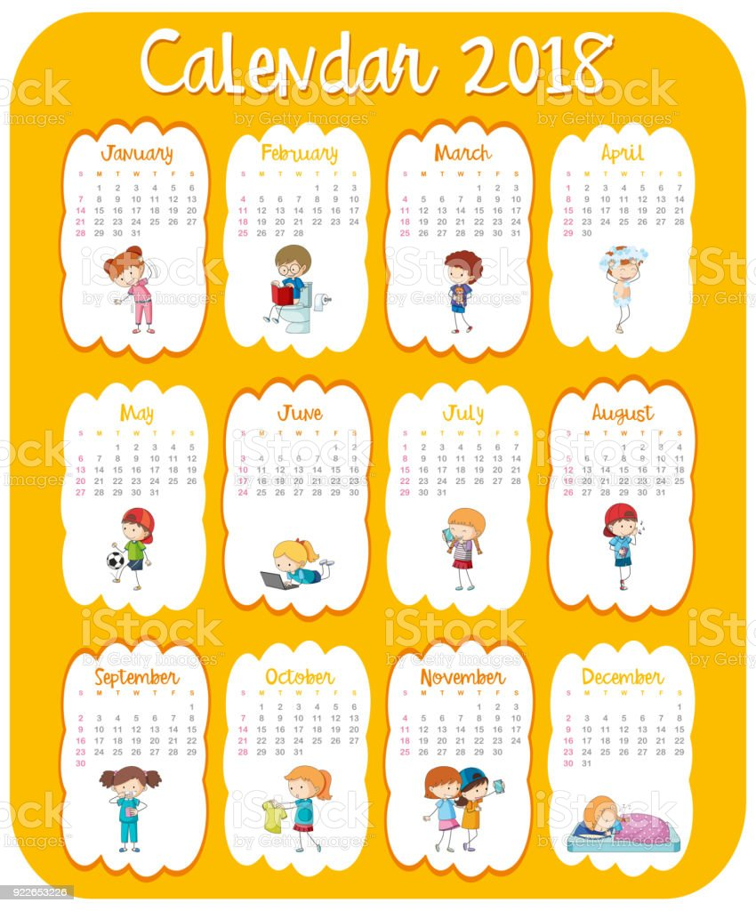 photograph about Kids Calendar Template called Calendar Template For 2018 With Youngsters Inventory Instance