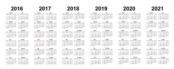 Calendar Template for 2018 with Week Starts Sunday