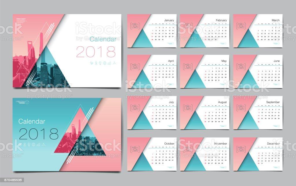 Plantilla De Calendario Para El Año 2018 Vector Diseño Diseño ...