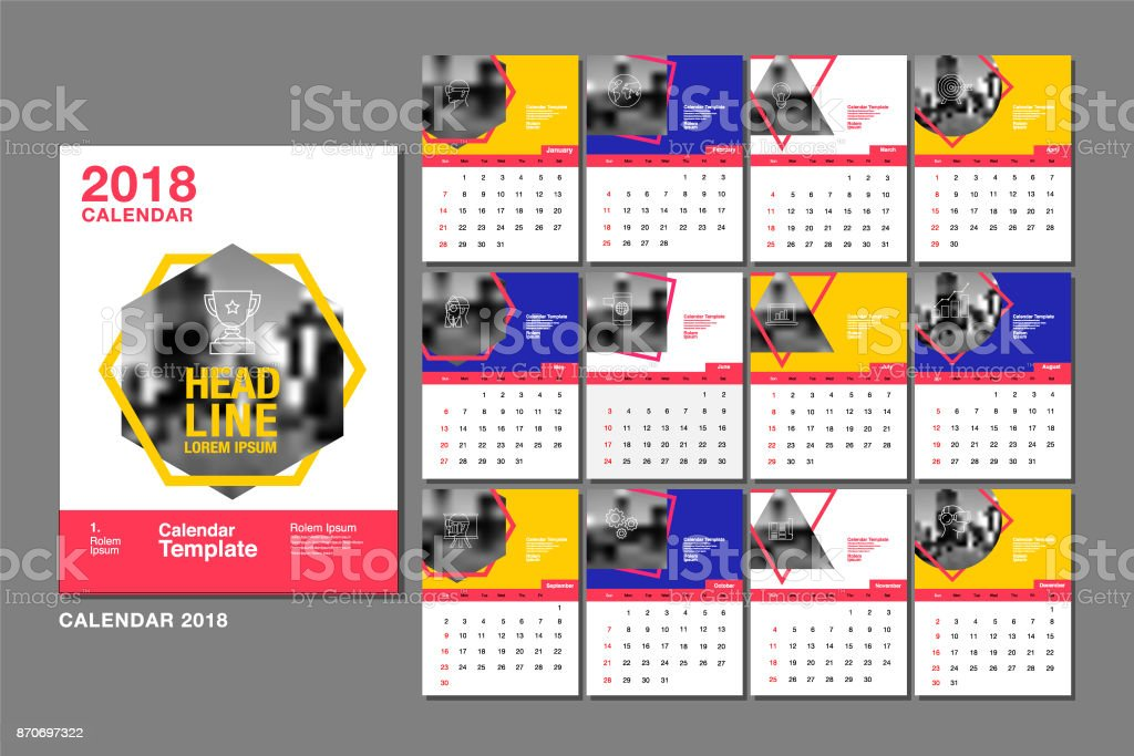 calendar template for 2018 year vector design layout business company royalty free