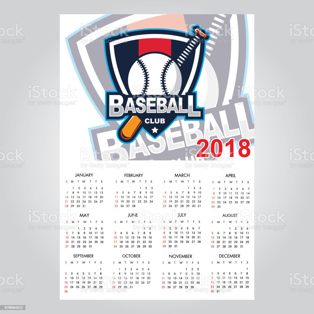 Calendar Template For 2018 Year Stock Vector Art 876994522 Istock