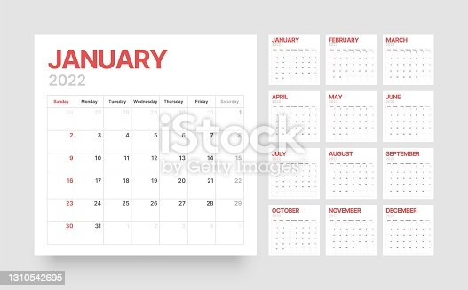 istock Calendar template for 2022 with week start on Sunday. 1310542695